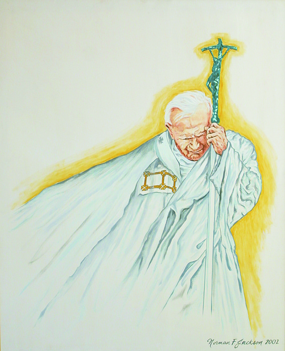 Pope John Paul Painting - Man On A Mission by Norman F Jackson