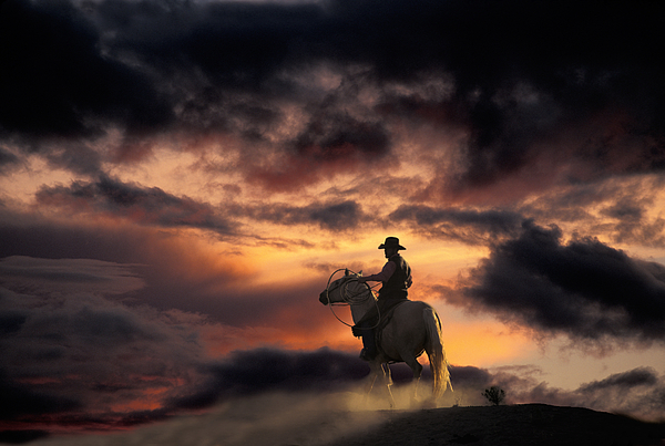 People Photograph - Man On Horseback by Ron Sanford and Photo Researchers