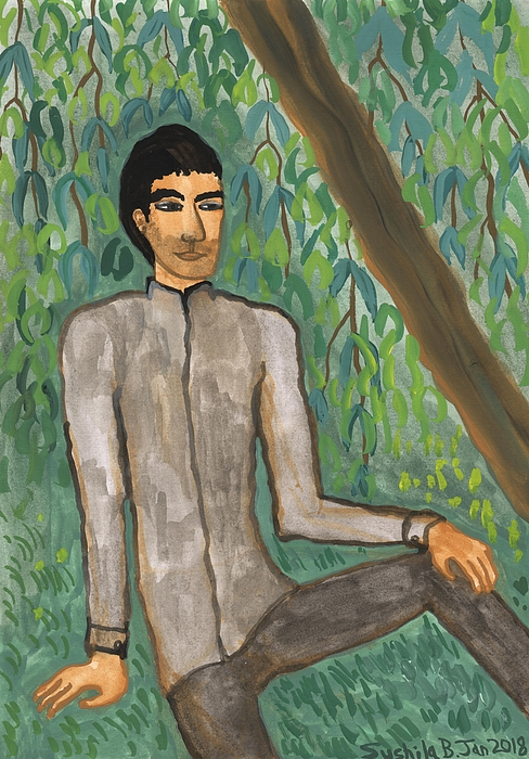 Willow Tree Painting - Man Sitting Under Willow Tree by Sushila Burgess