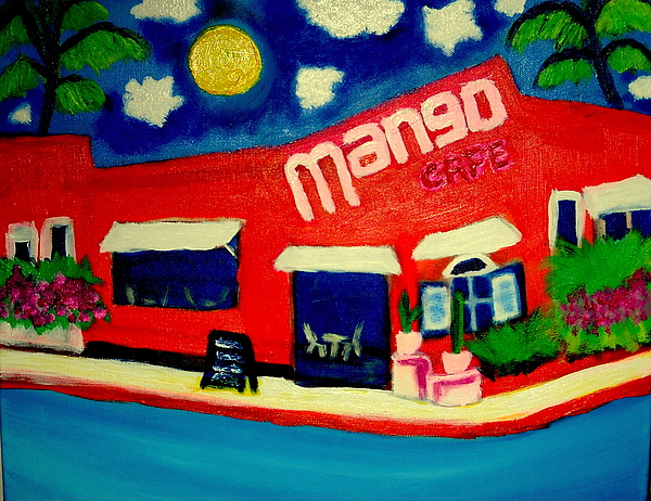 Mango Cafe Isla  Mueres Mexico Painting by Ted Hebbler