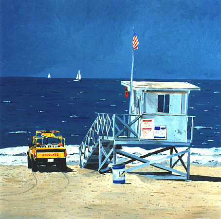 Manhattan Beach Lifeguard Station Painting by Lance Headlee