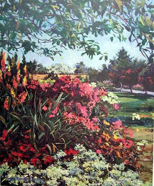 Kay Gaitland Manor Garden Painting - Manor Garden by Kay Hamilton Gaitland