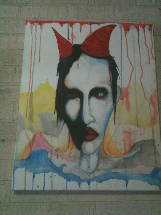 Marilyn Manson Painting Painting - Manson Watercolour Painting by Dwight  Dixon