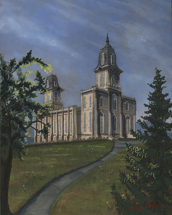 Lds Painting - Manti Temple East Doors by Jeff Brimley