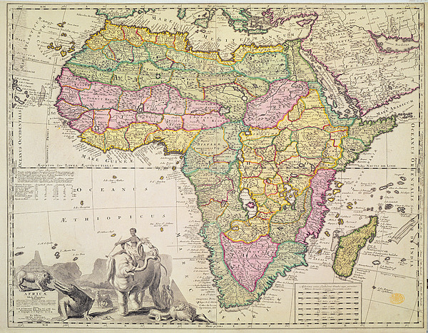 Map Drawing - Map Of Africa by Pieter Schenk