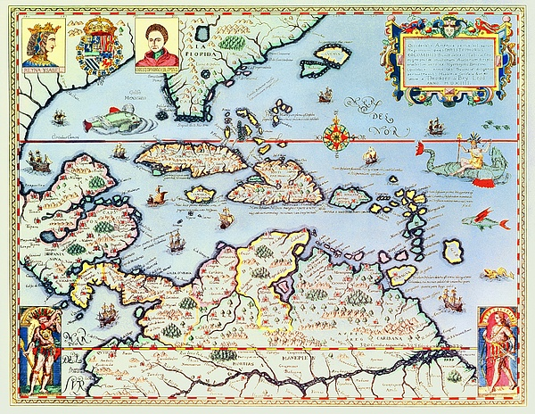 Map Painting - Map Of The Caribbean Islands And The American State Of Florida  by Theodore de Bry