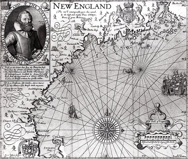 Maps Drawing - Map Of The Coast Of New England by Simon de Passe