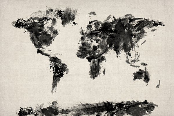 Map Of The World Digital Art - Map Of The World Map Abstract by Michael Tompsett