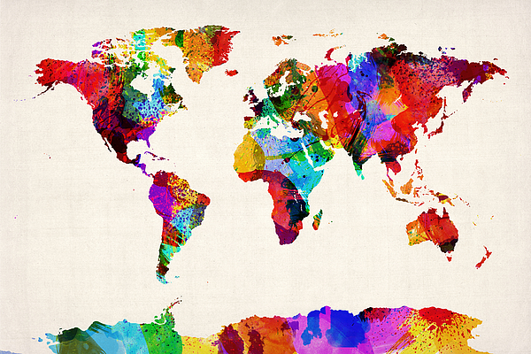 Map Of The World Map Abstract Painting Digital Art By Michael Tompsett