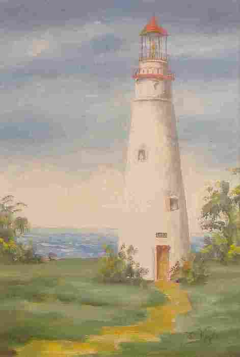 Lighthouse Print - Marbelhead Lighthouse by Della Kaple