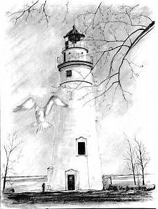 Lighthouse Drawing - Marblehead Lighthouse Lake Erie by Luke Lauch