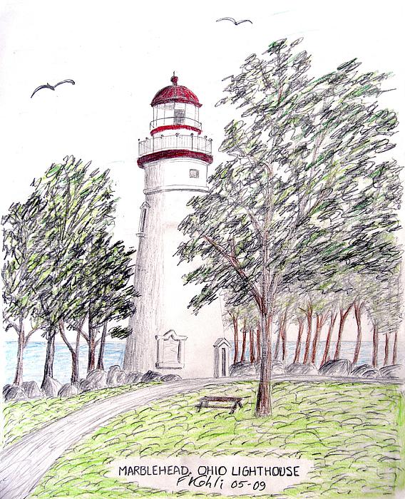 Lighthouse Artwork Drawing - Marblehead Ohio Lighthouse  by Frederic Kohli