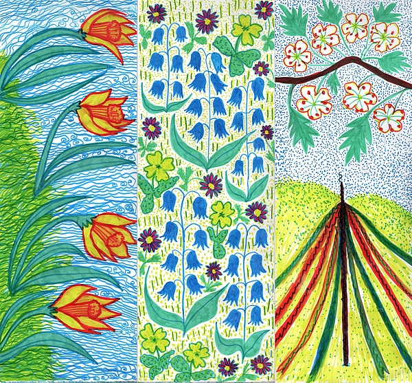Spring Drawing - March April May by Sushila Burgess