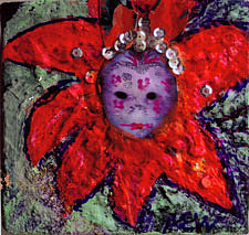 Mask Mixed Media - Mardi Gras Mask In Three D Collage by Anne-Elizabeth Whiteway