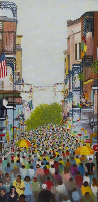 Mardi Gras Painting - Mardi Gras On Bourbon Street by Douglas Ann Slusher