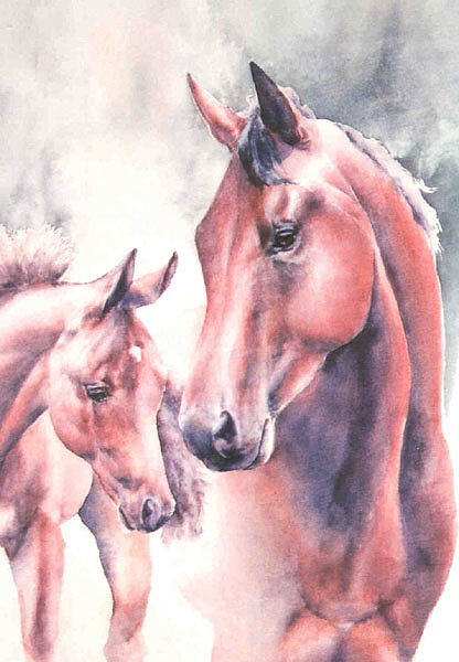 Horses Painting - Mare And Foal by Barbara Widmann