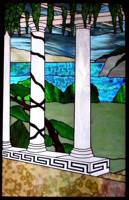 Landscape Glass Art - Marinas Terrace by Barbara Harris