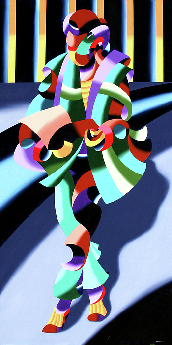 Futurism Painting - Mark Webster - Abstract Futurist Modern Woman In Tokyo by Mark Webster