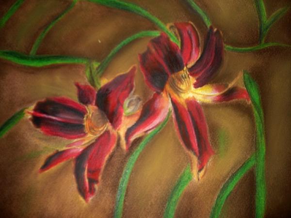 Lily Mixed Media - Maroon Lillies by Latha  Vasudevan