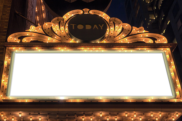 Marquee Photograph - Marquee Lights Blank Sign by David Gn