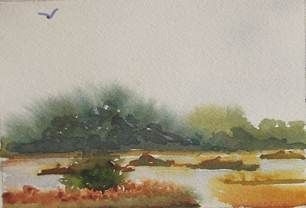 Marsh Painting - Marsh Beyond Number Four Bridge by Libby  Cagle