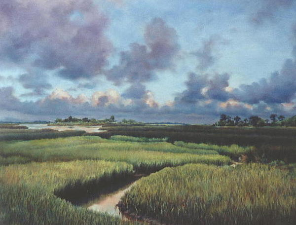 Water Painting - Marsh Dawn by Marion  Hylton