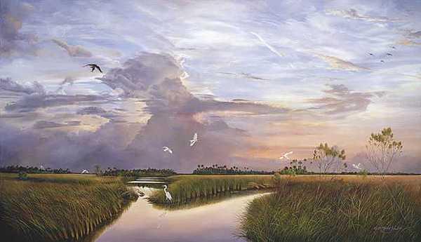 Sunsets Print - Marsh Horizon by Keith Martin Johns
