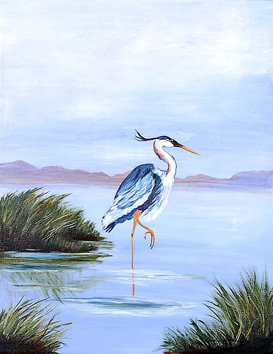 Marshland Painting - Marsh King by Shirley Lawing