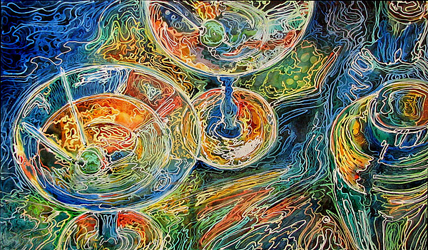 Batik Painting - Martini Bar A Fine Art Batik By M Baldwin by Marcia Baldwin