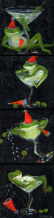 Frog Painting - Martini Frogs by Debbie McCulley