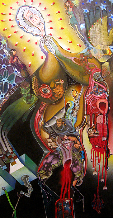 Pop Surrealism Mixed Media - Marvel At The Comic Book Orgy by Jody Brusca