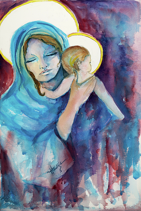 Mother Mary Painting - Mary And Baby Jesus by Mary DuCharme
