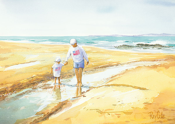 Beach Walk Painting - Mary And Sophia by Ray Cole