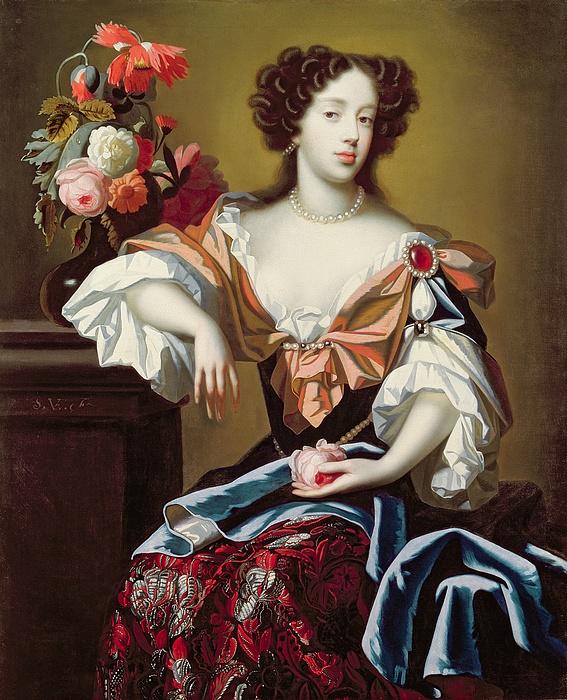 Mary Painting - Mary Of Modena  by Simon Peeterz Verelst