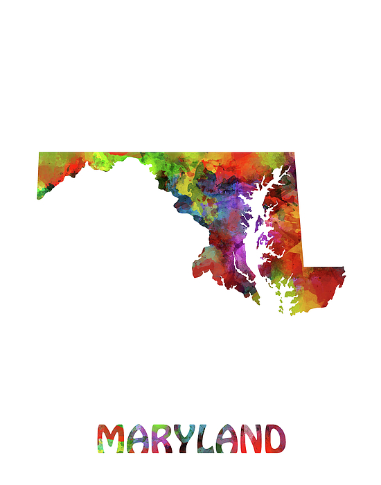 Maryland Map Watercolor Shower Curtain for Sale by Bekim Art