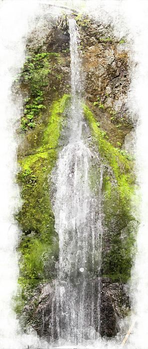Waterfall Digital Art - Marymere Falls Wc by Peter J Sucy