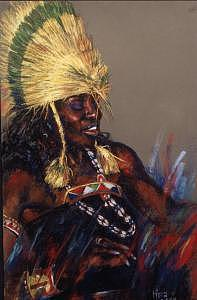 Figurative Painting - Masai Dancer by Tina Siddiqui