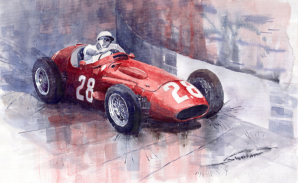 Watercolour Painting - Maserati 250 F Gp Monaco 1956 Stirling Moss by Yuriy  Shevchuk
