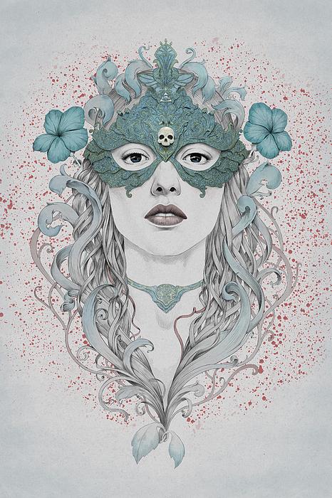 Woman Digital Art - Masked by Diego Fernandez