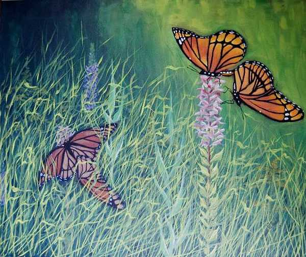 Nature Painting - Mating Season-monarchs by Wade Clark