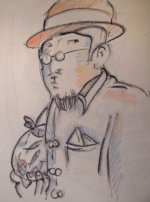 Matisse Drawing - Matisse En Route To His Studio With Goldfish by Charlie Spear