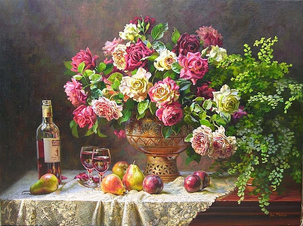 May Roses And Wine Painting by Ann Morton