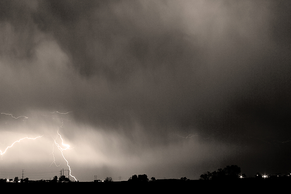 Lightning Bolts Photograph - May Showers 3 In Sepia - Lightning Thunderstorm 5-10-2011 Boulde by James BO  Insogna
