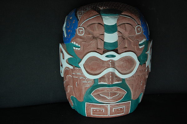 Wood Carving Sculpture - Maya Maize God by Owen Lohrenz