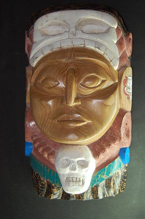 Wood Carving Sculpture - Mayan Skull God by Owen Lohrenz