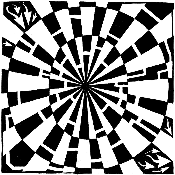 Maze Drawing - Maze-bama by Yonatan Frimer Maze Artist