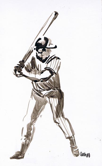 Mbl Batter Up Drawing - Mbl Batter Up by Seth Weaver