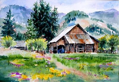 Barn Painting - Mcghee Farm by Lynee Sapere