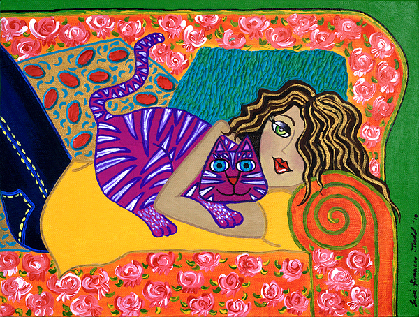 Me Painting - Me And My Cat by Lisa Frances Judd