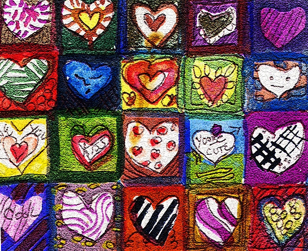 Hearts Painting - Me Luv by Mindy Newman